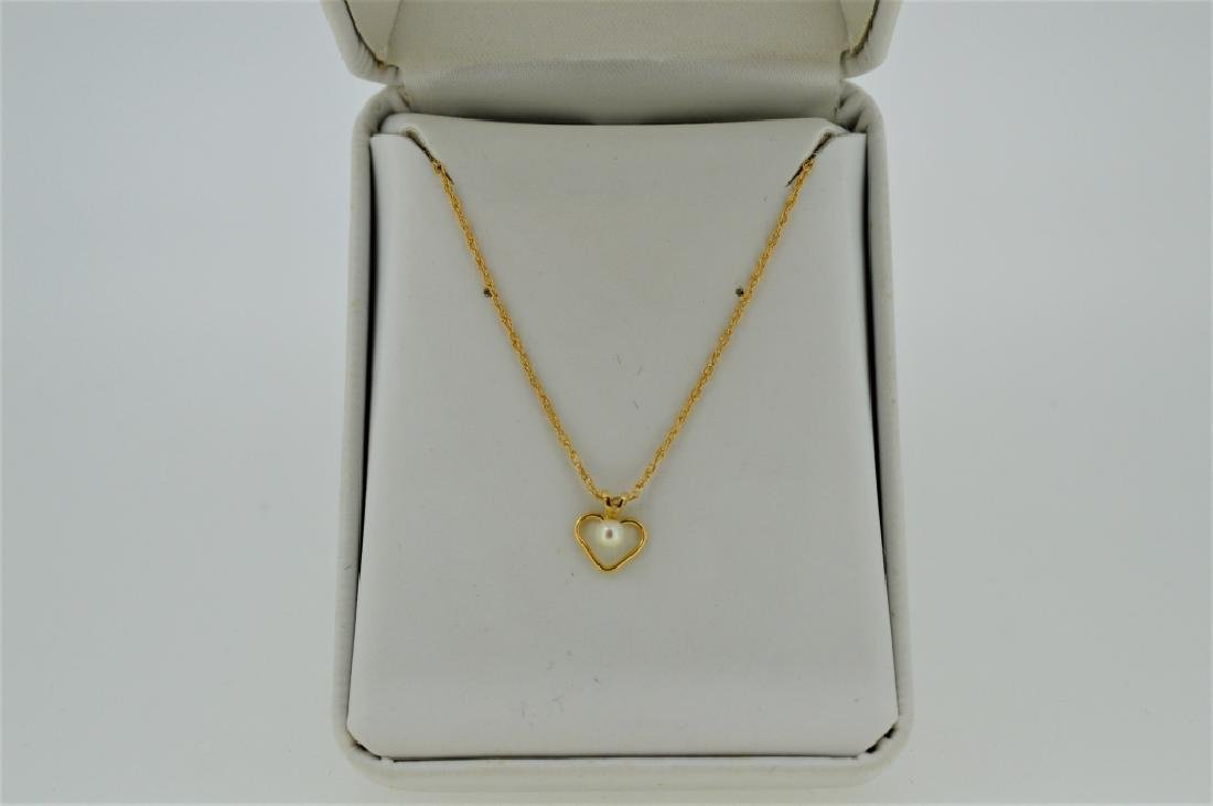"16"" Gold Open Heart Necklace with Pearl - 2"