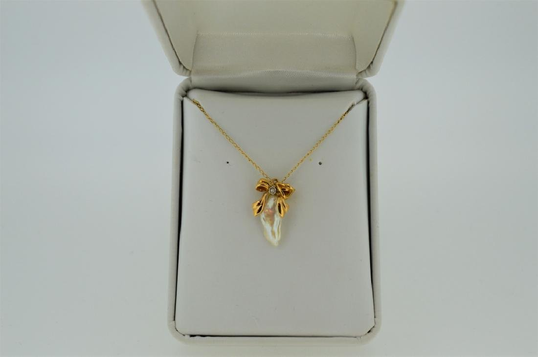 """16"""" Gold Necklace with Pearl Charm"""