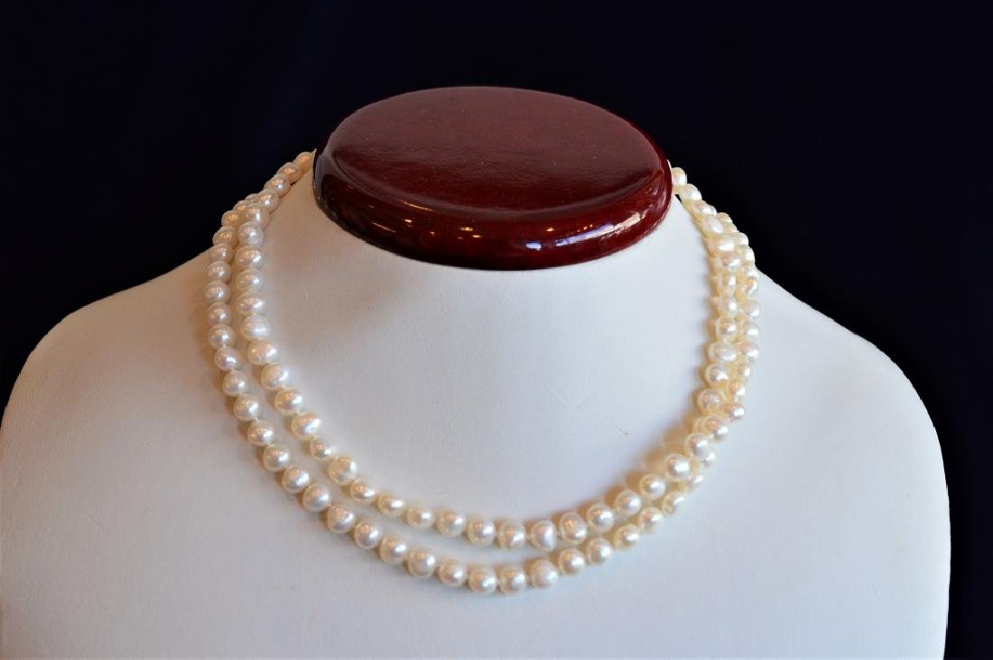 "Classic 30"" Single Strand 5.5mm Pearl Necklace - 3"