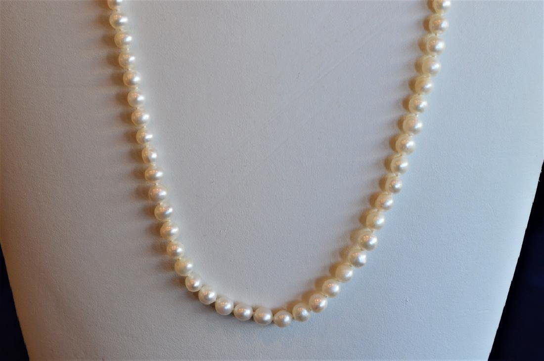 "24"" Single Strand 6mm Pearl Necklace - 3"