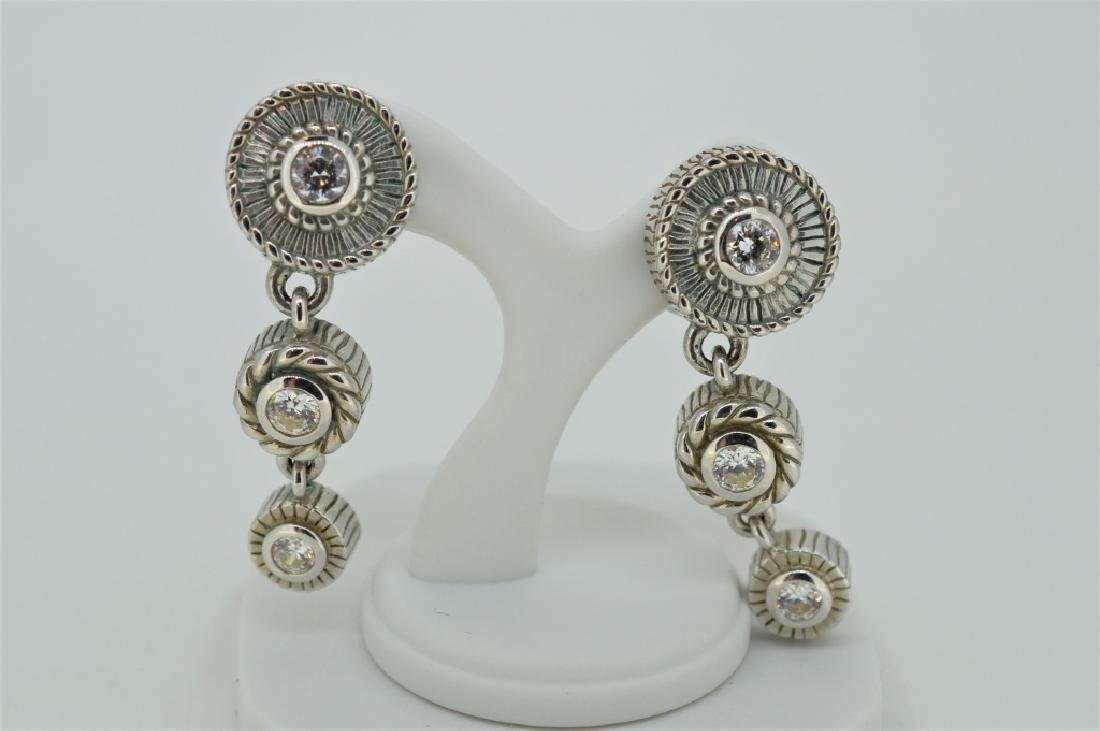 Judith Ripka Sterling Triple Circle Drop Earrings