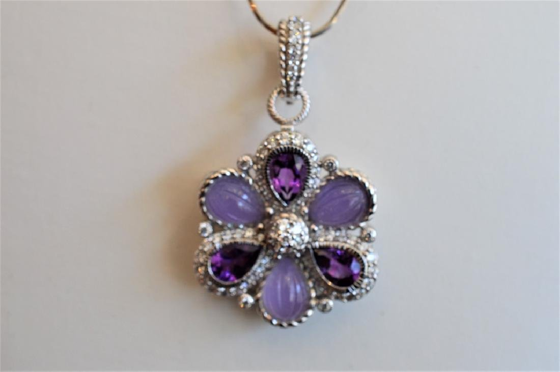 Judith Ripka Sterlng Silvr Flower Purple Topaz Pin