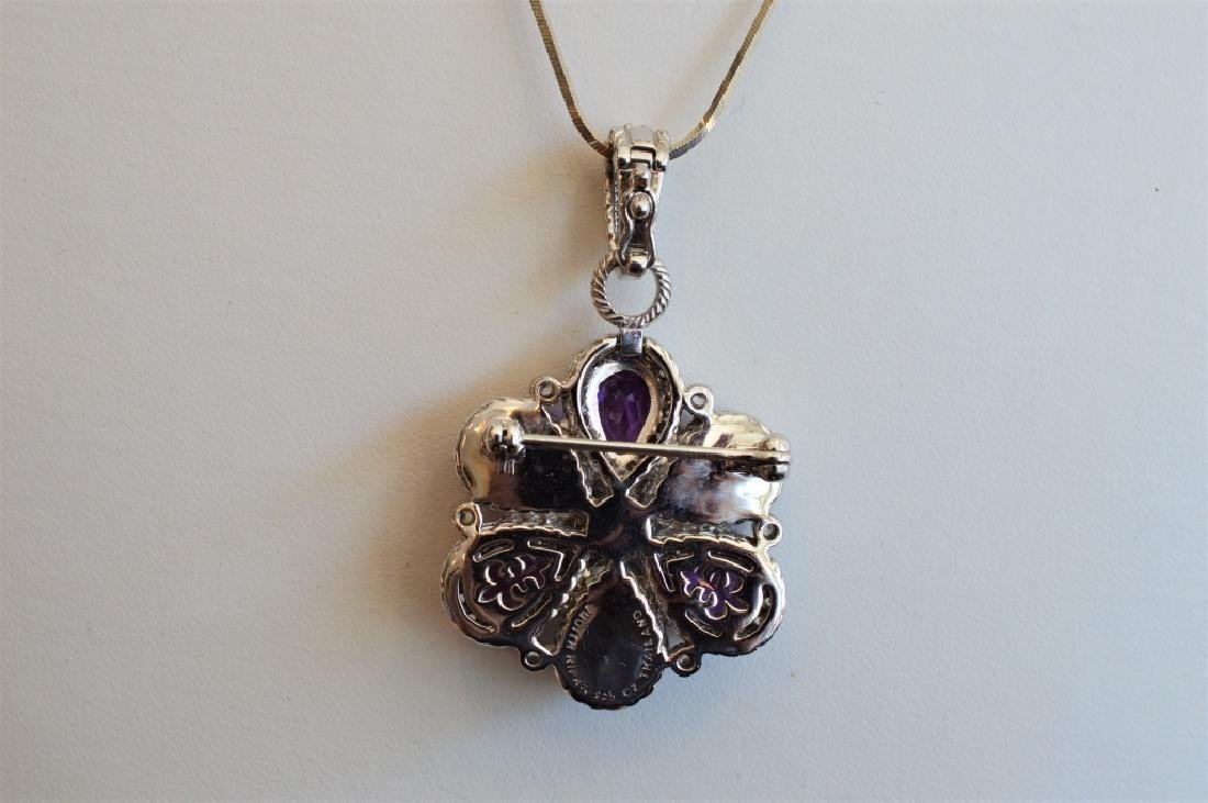 Judith Ripka Sterlng Silvr Flower Purple Topaz Pin - 2