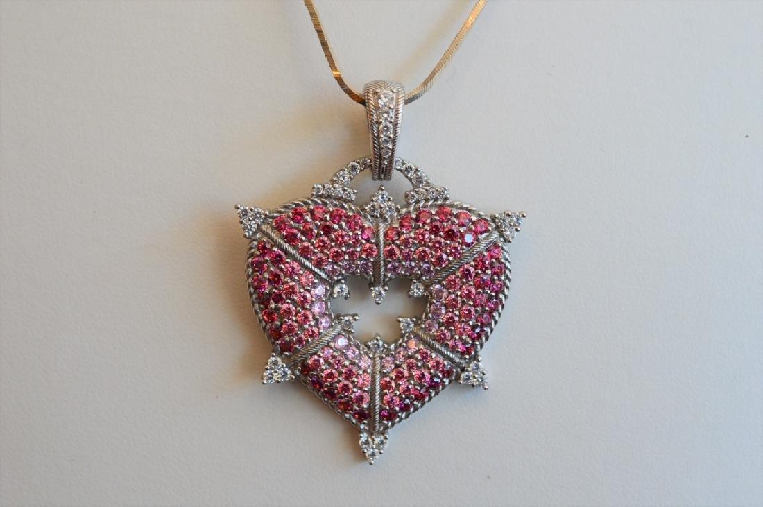 Judith Ripka Pink CZ Heart Enhancer Pendant
