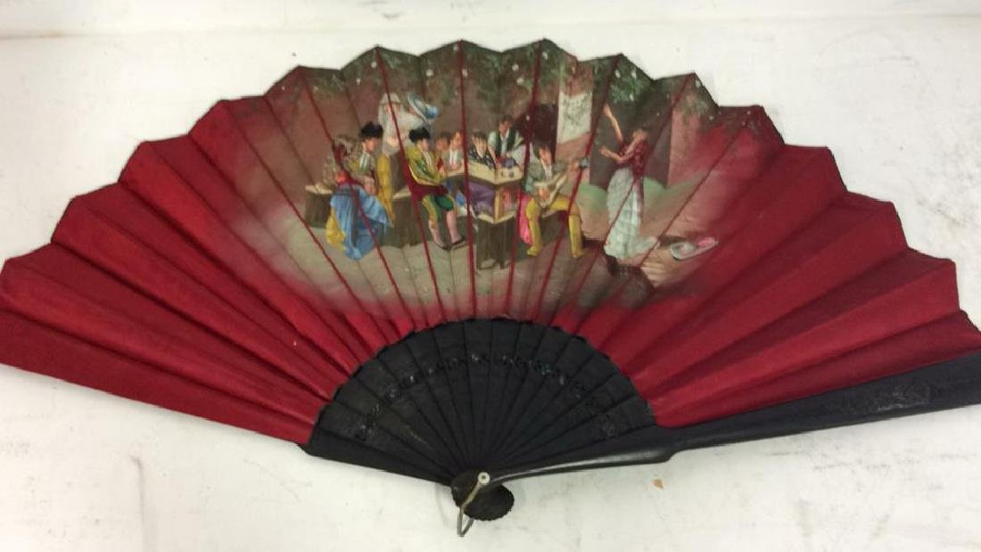 Vintage Antique Spanish Painted Silk Fan