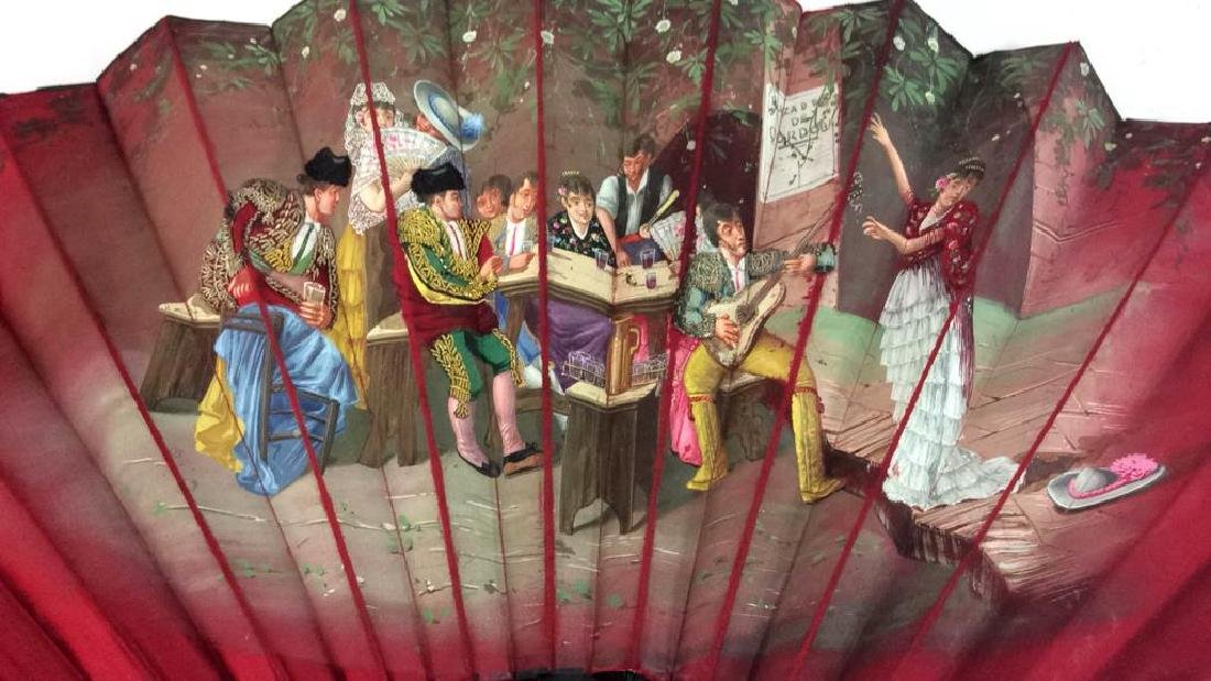 Vintage Antique Spanish Painted Silk Fan - 2