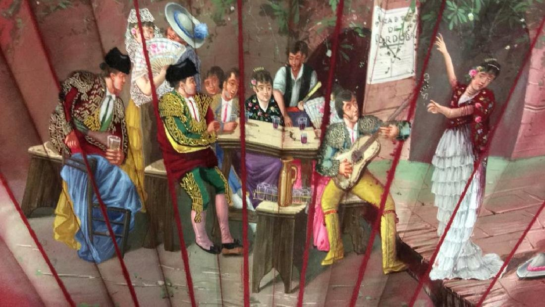 Vintage Antique Spanish Painted Silk Fan - 3