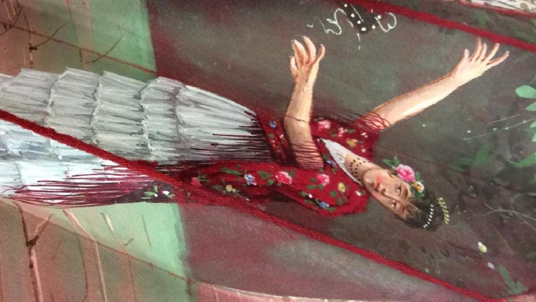 Vintage Antique Spanish Painted Silk Fan - 6