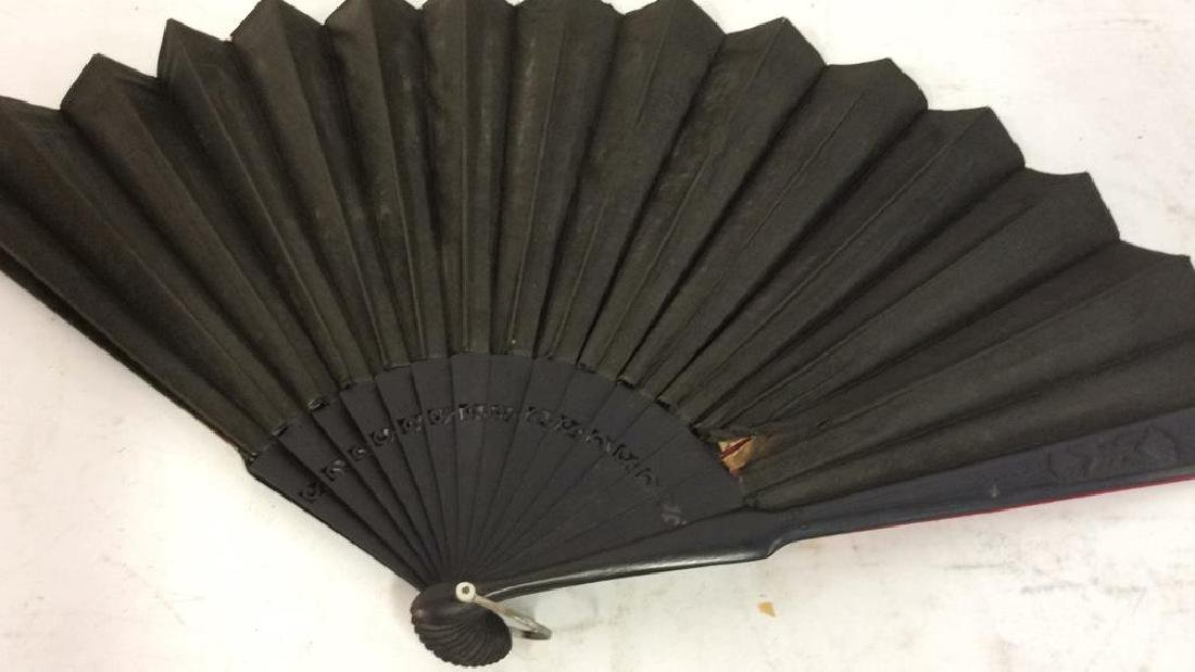 Vintage Antique Spanish Painted Silk Fan - 9