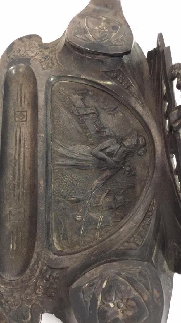 Art Nouveau Inkwell Spelter w Bronze Overlay - 5
