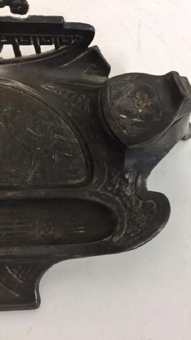 Art Nouveau Inkwell Spelter w Bronze Overlay - 8