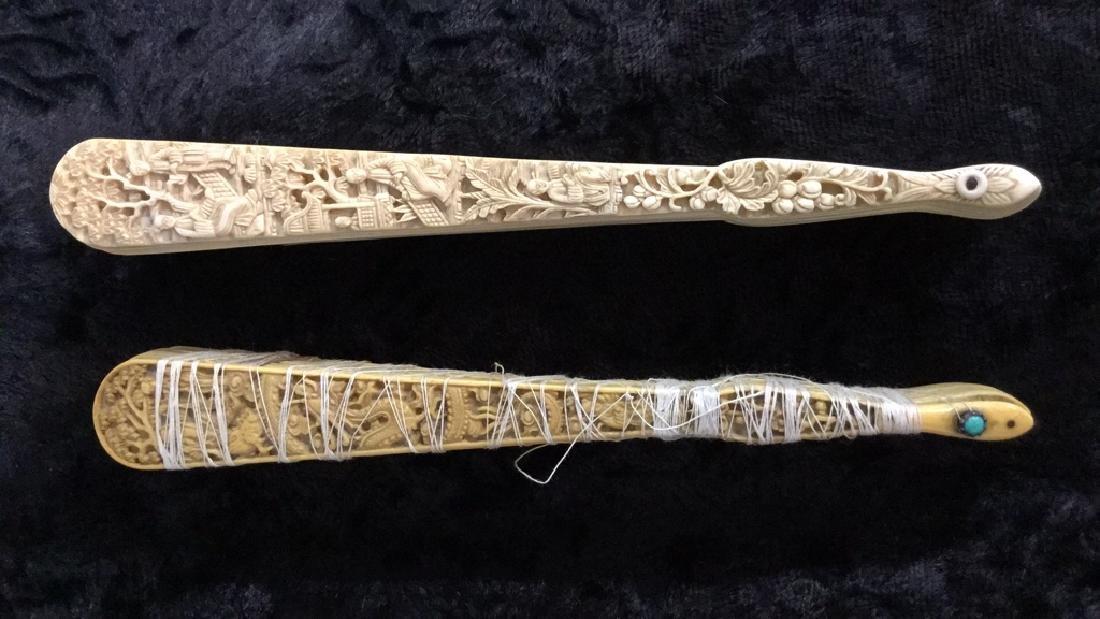 Lot 3 Antique Oriental Carved Bone Ladies Fans - 10