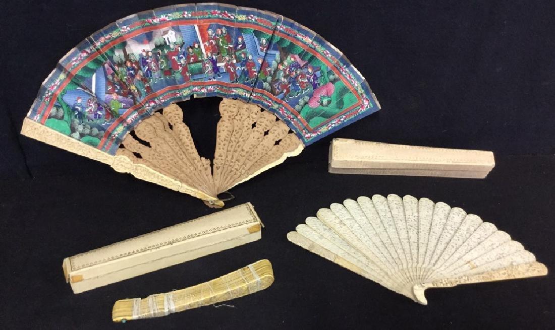 Lot 3 Antique Oriental Carved Bone Ladies Fans - 2