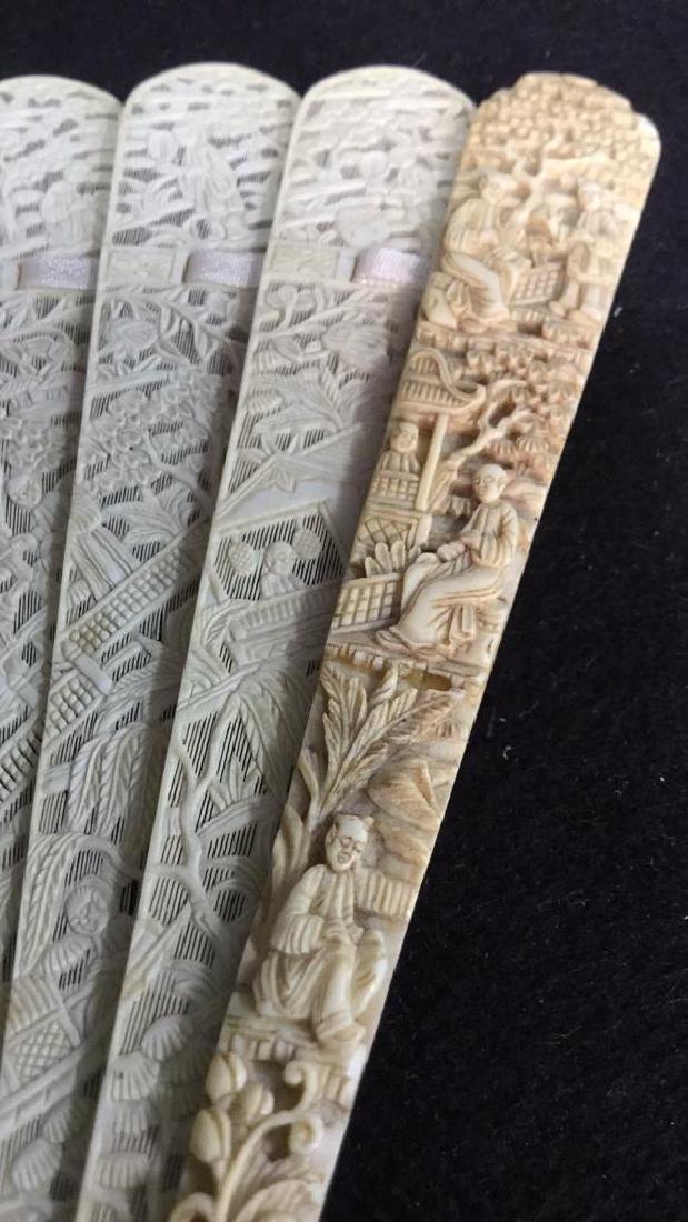Lot 3 Antique Oriental Carved Bone Ladies Fans - 3