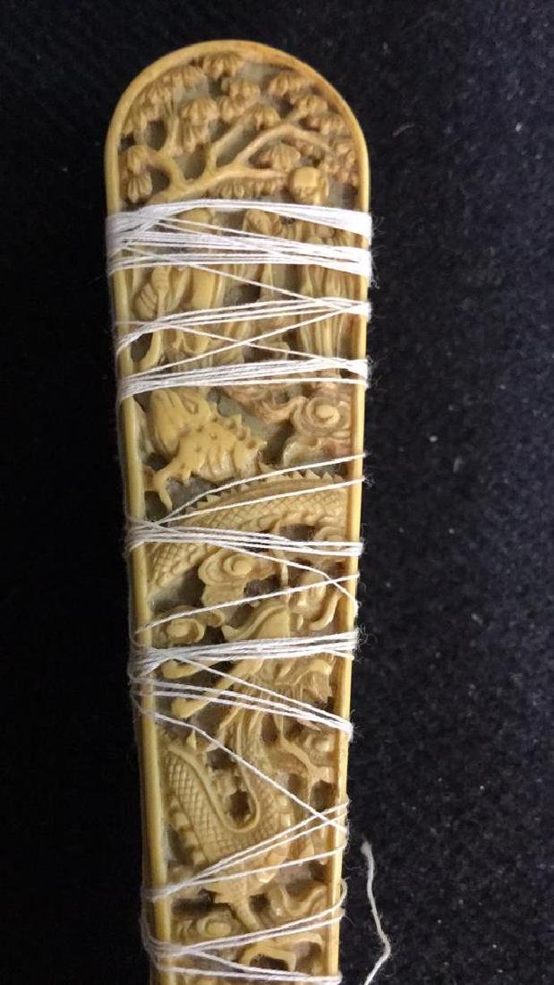 Lot 3 Antique Oriental Carved Bone Ladies Fans - 5