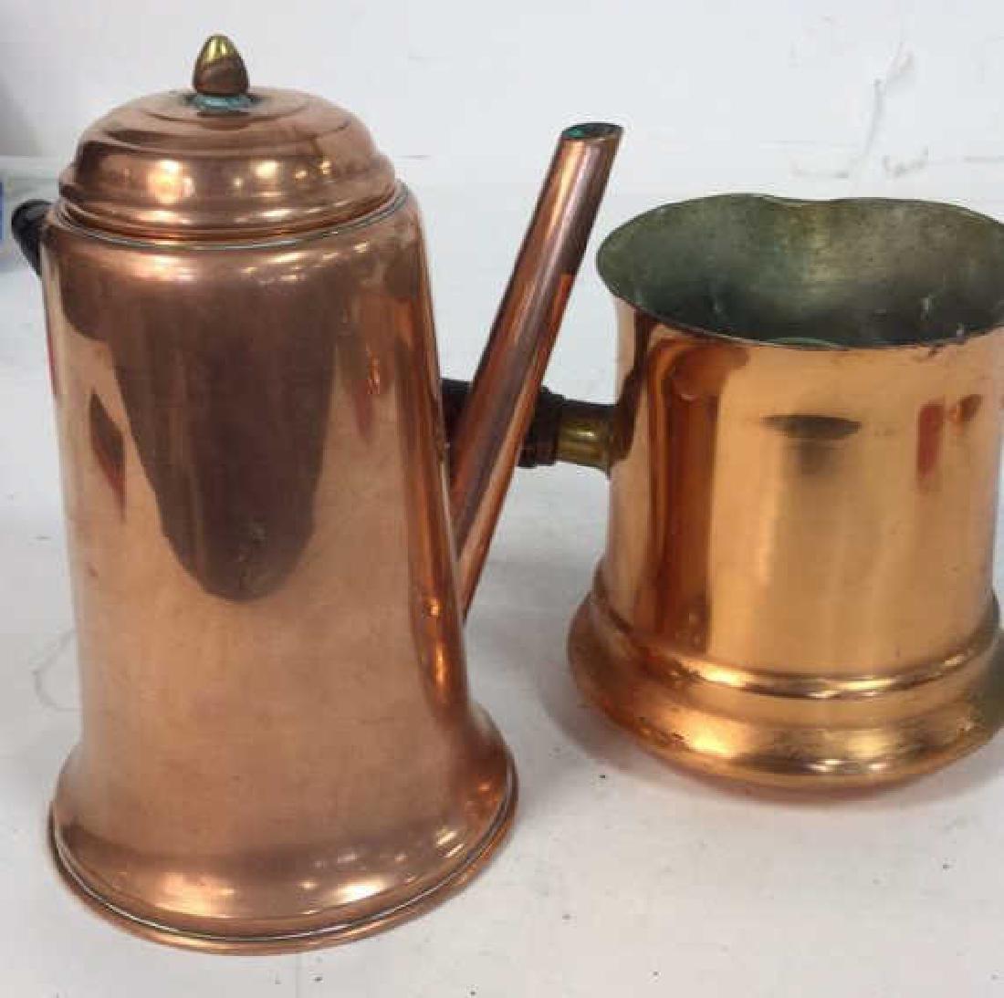Vintage Copper Kitchen Pots Implements - 10