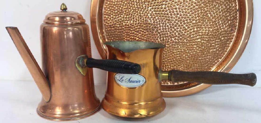 Vintage Copper Kitchen Pots Implements - 2