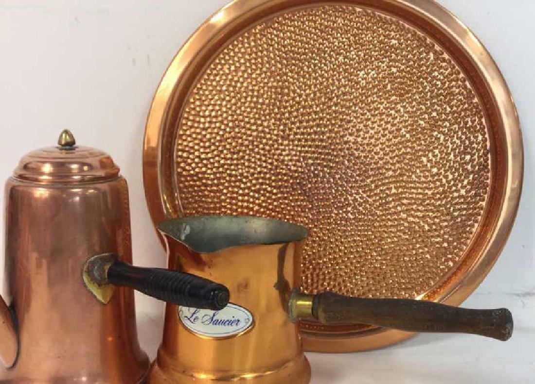 Vintage Copper Kitchen Pots Implements - 3