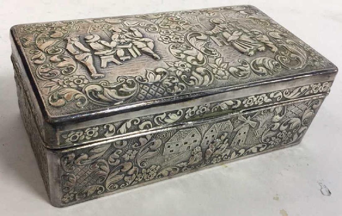 Vintage Silver Plate Repousse Ornate Trinket Box