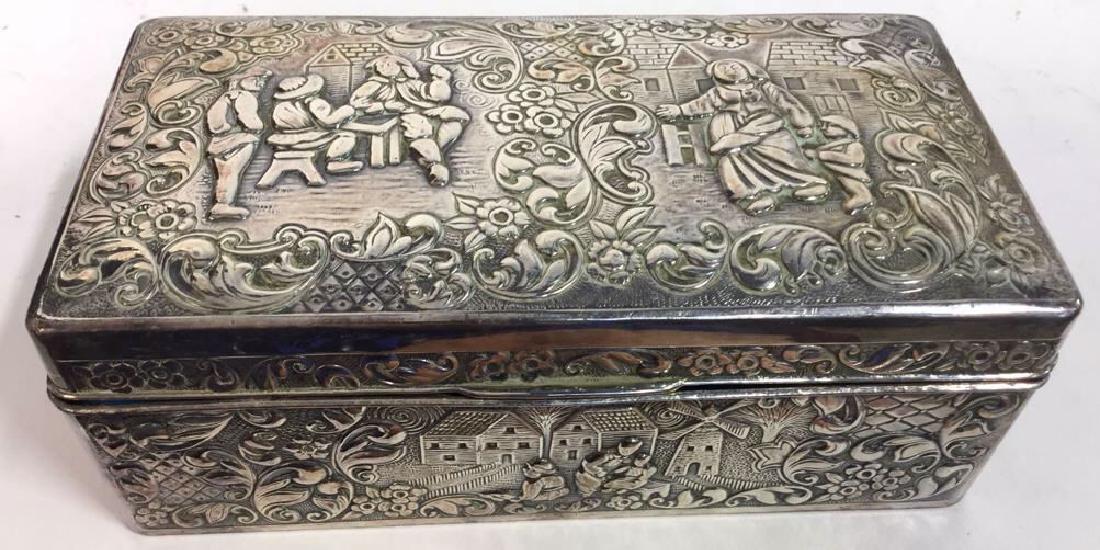 Vintage Silver Plate Repousse Ornate Trinket Box - 2