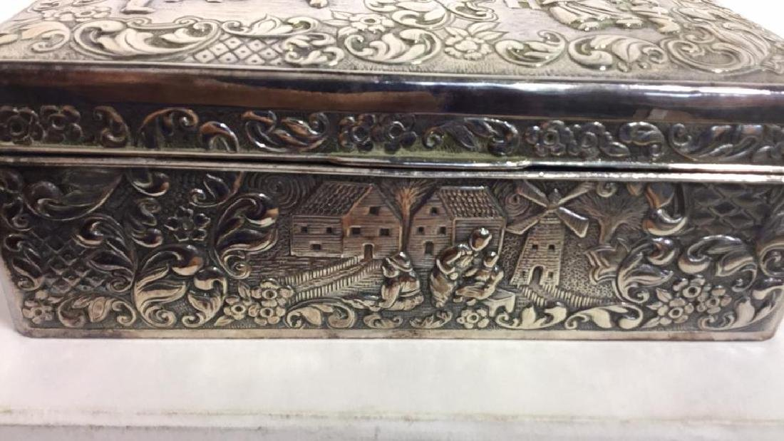 Vintage Silver Plate Repousse Ornate Trinket Box - 3