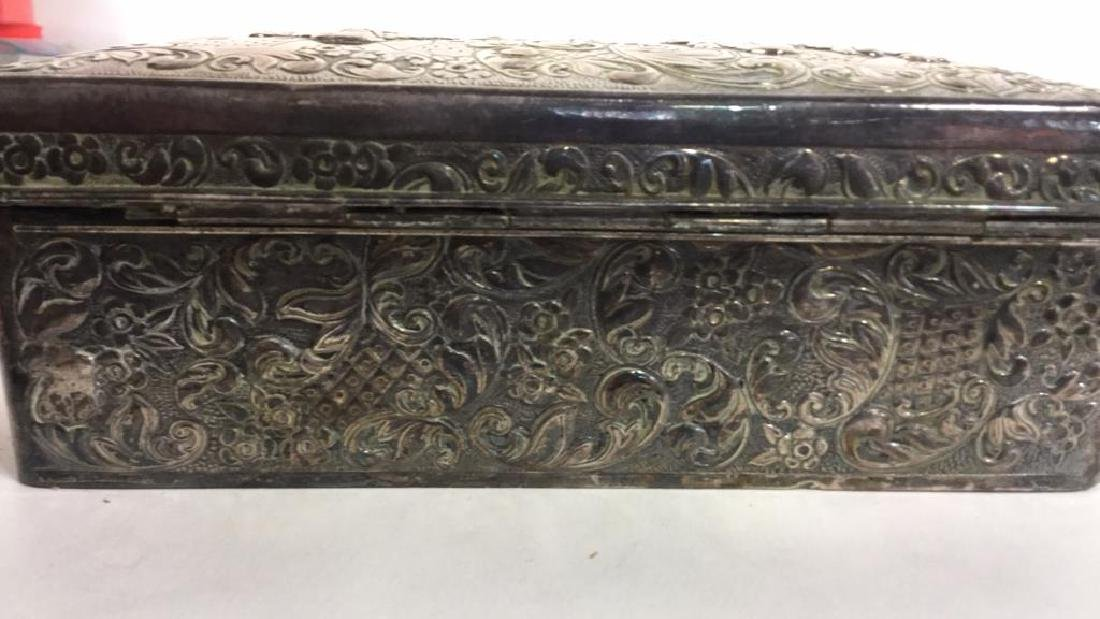 Vintage Silver Plate Repousse Ornate Trinket Box - 5