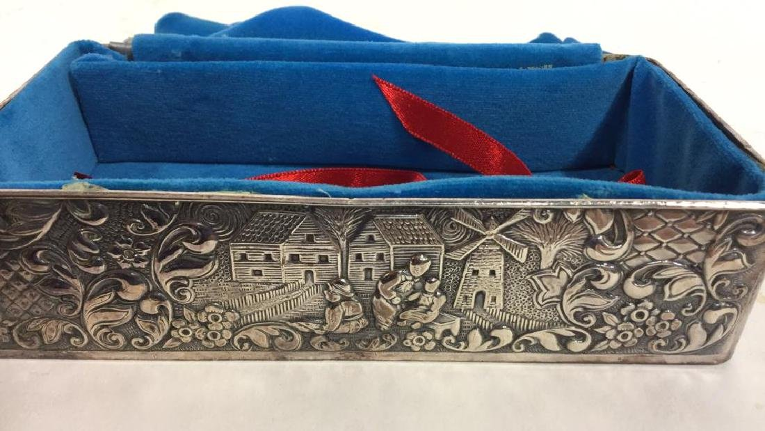Vintage Silver Plate Repousse Ornate Trinket Box - 8