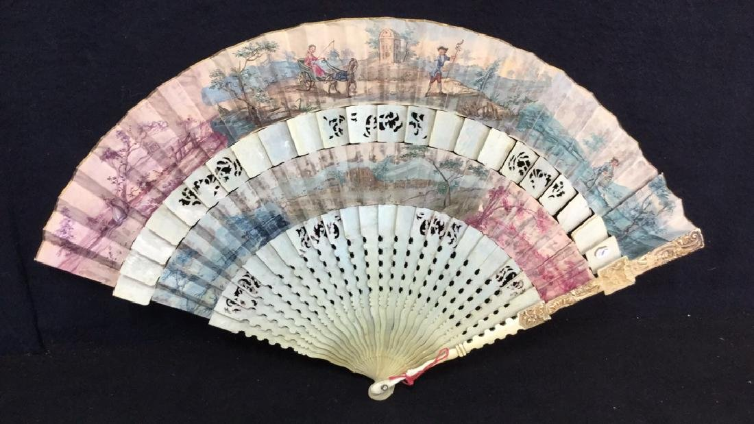 Antique Hand Painted Carved Bone Ladies Fan
