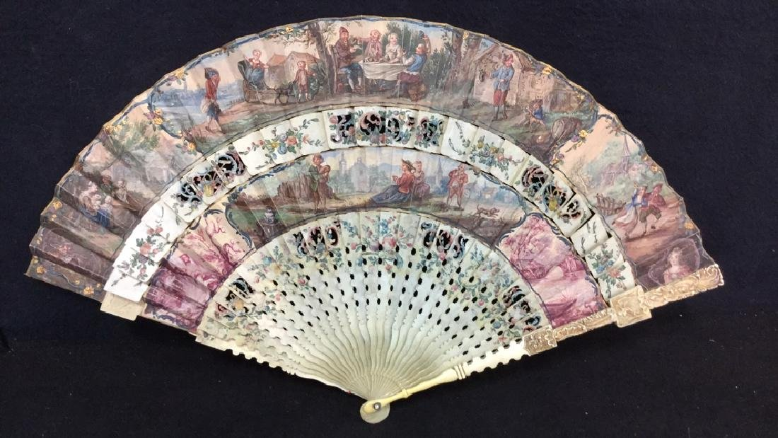 Antique Hand Painted Carved Bone Ladies Fan - 3