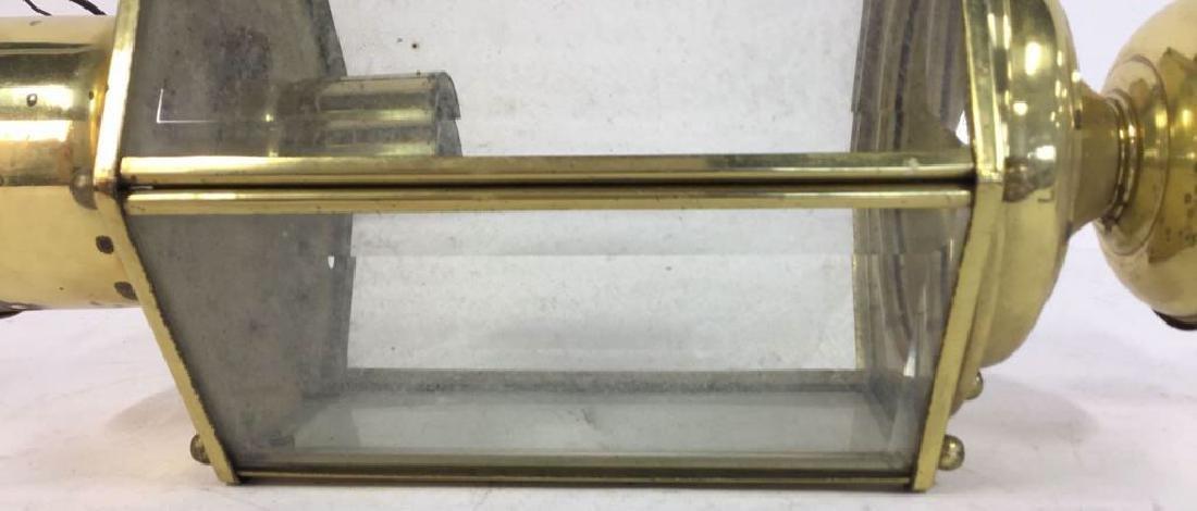 Brass Beveled Glass Vintage Ceiling Lantern - 3