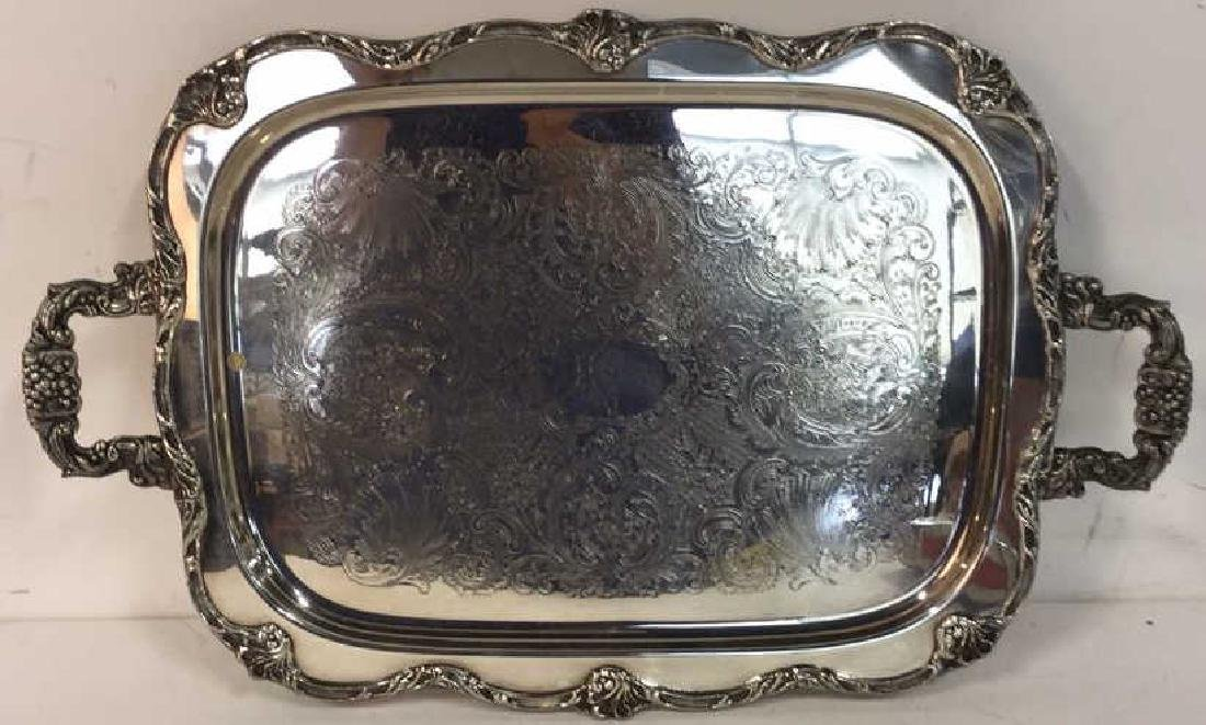 Large Silver Plate Footed Etched Tray