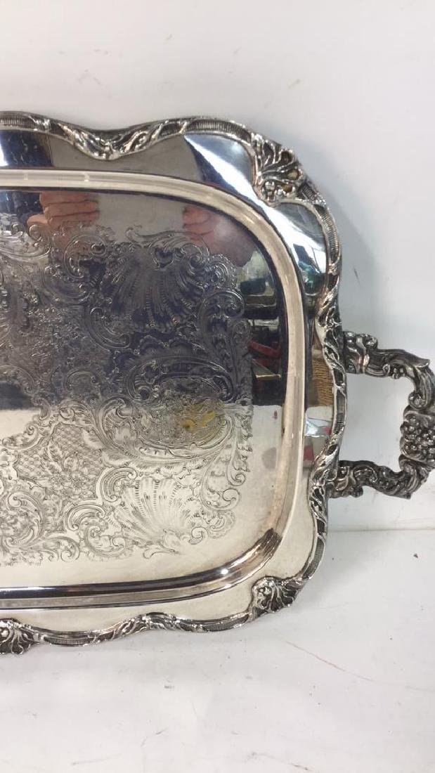Large Silver Plate Footed Etched Tray - 3