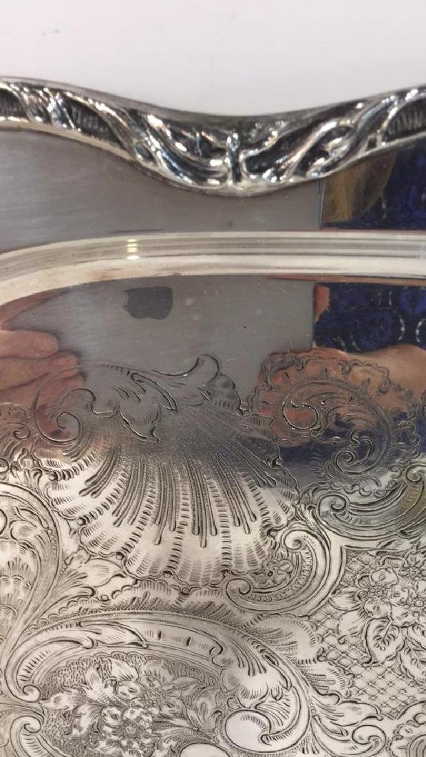 Large Silver Plate Footed Etched Tray - 4
