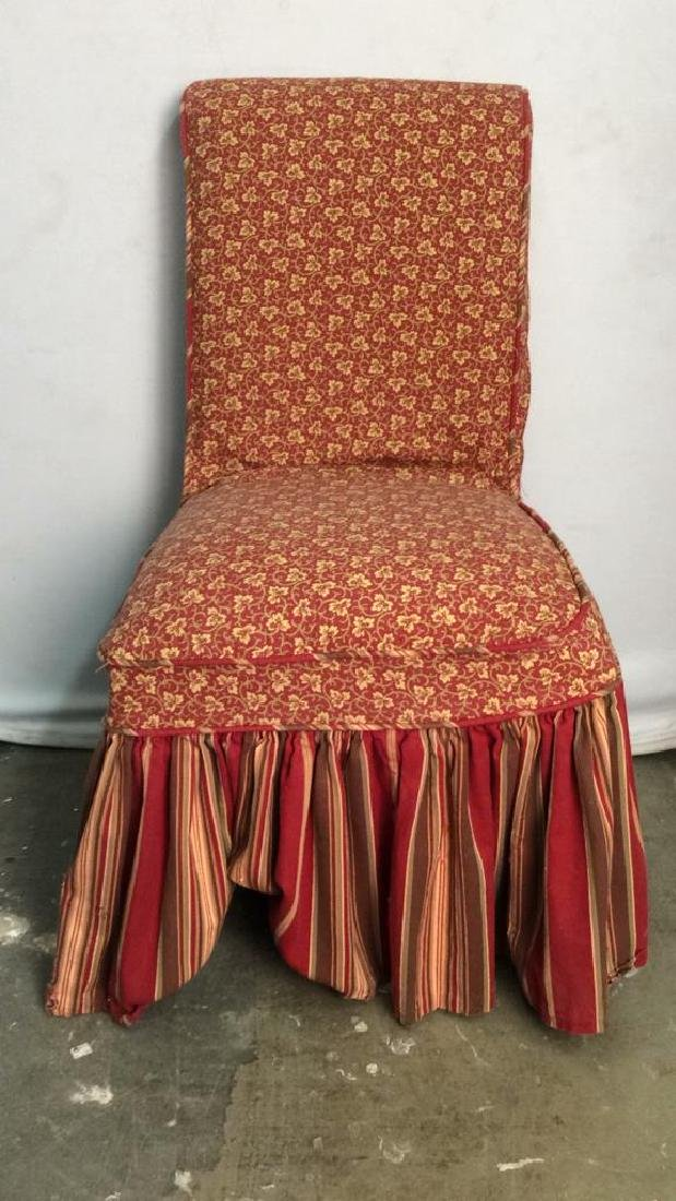 Pair Upholstered Skirted Floral Detailed Chairs - 2