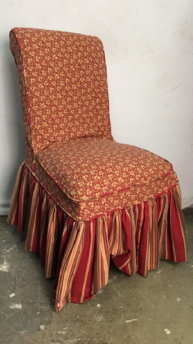 Pair Upholstered Skirted Floral Detailed Chairs - 4