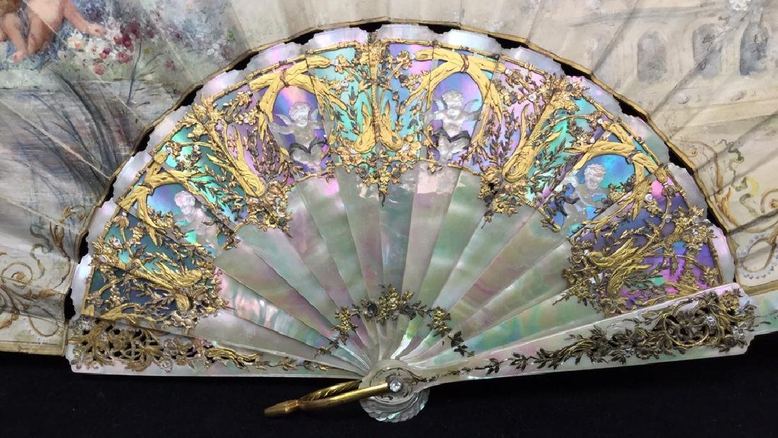 Antique Gilded Mother Of Pearl Ladies Fan