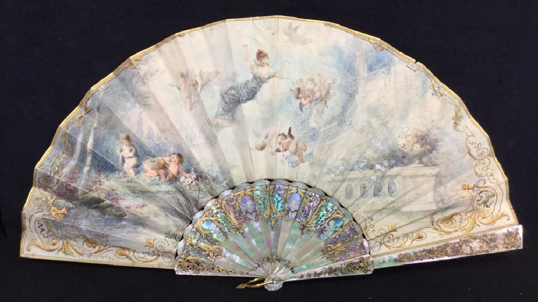 Antique Gilded Mother Of Pearl Ladies Fan - 2