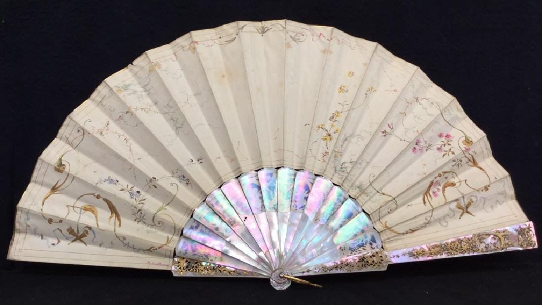 Antique Gilded Mother Of Pearl Ladies Fan - 9