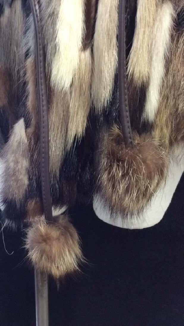 Ladies Multi Toned Fur Coat Jacket W Belt - 4