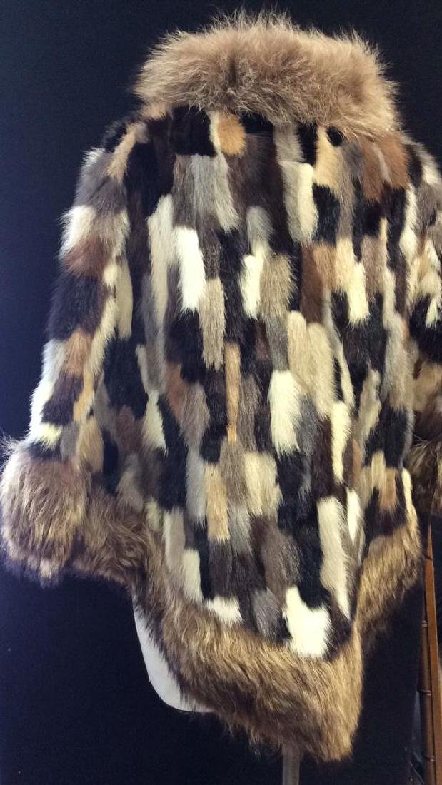 Ladies Multi Toned Fur Coat Jacket W Belt - 6
