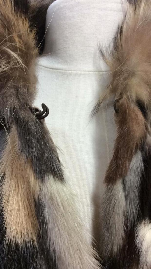 Ladies Multi Toned Fur Coat Jacket W Belt - 7