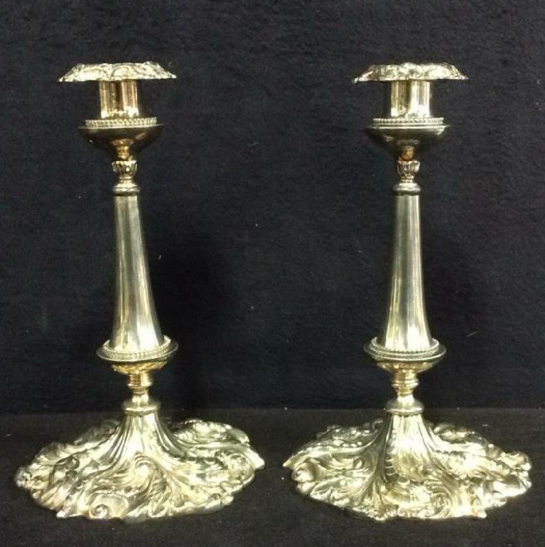 Pr VICTOR SILVER CO Ornately Detailed Candlesticks