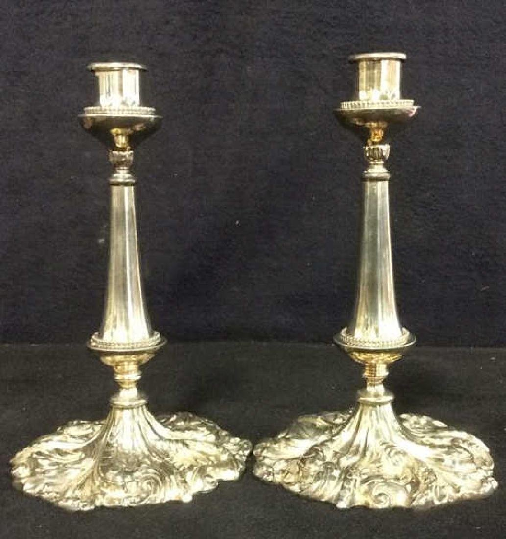Pr VICTOR SILVER CO Ornately Detailed Candlesticks - 8