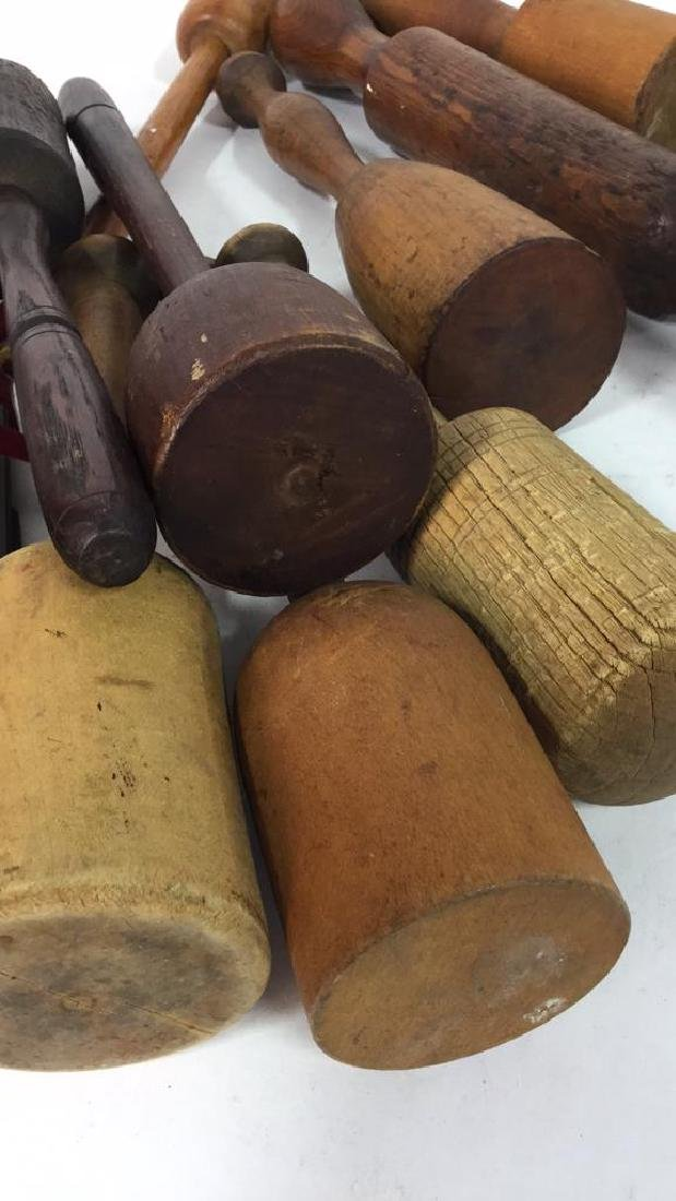 Group Lot Antique Wood Carver's Mallets Tools - 10
