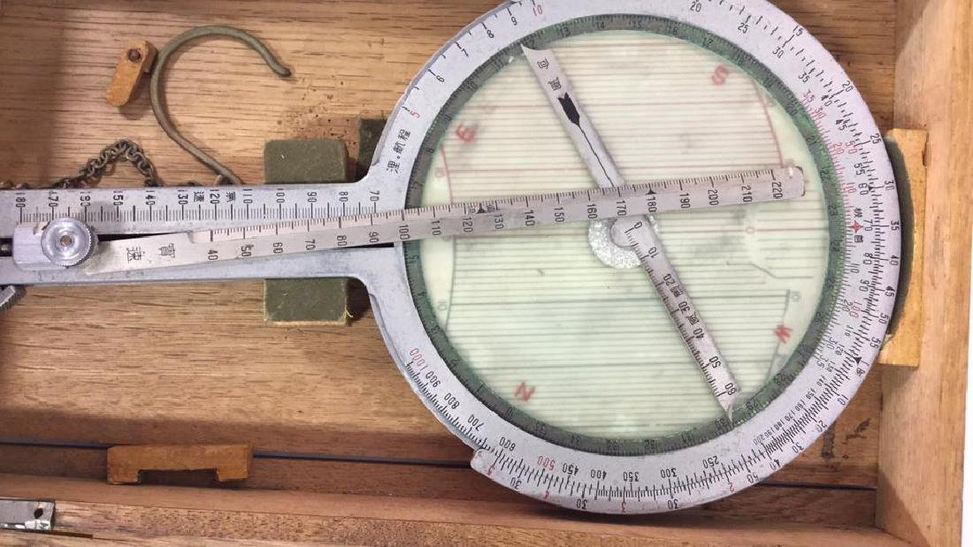 Antique Surveyors Instrument Fitted Wood Box