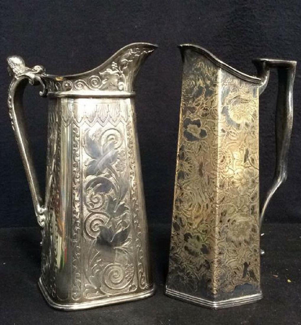 Lot 2 Silver Toned Intricately Detailed Pitchers