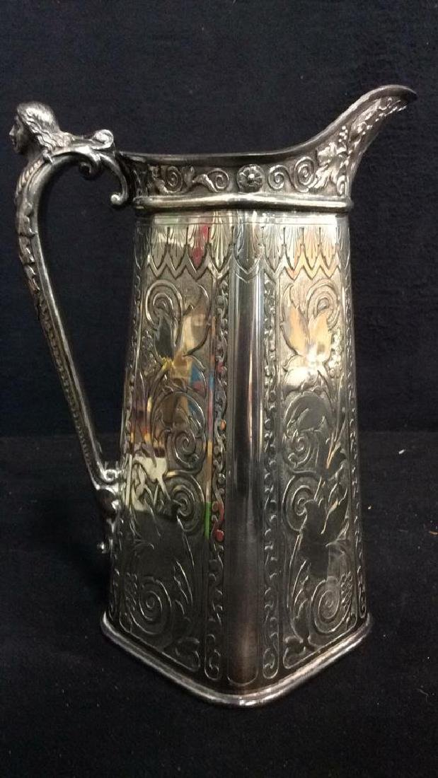 Lot 2 Silver Toned Intricately Detailed Pitchers - 3