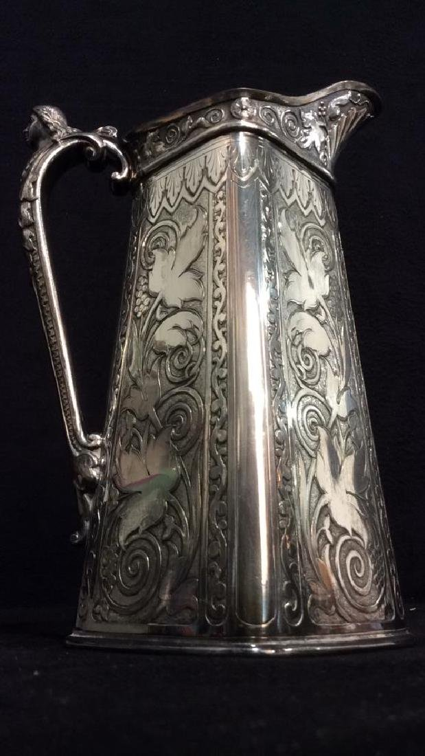 Lot 2 Silver Toned Intricately Detailed Pitchers - 4