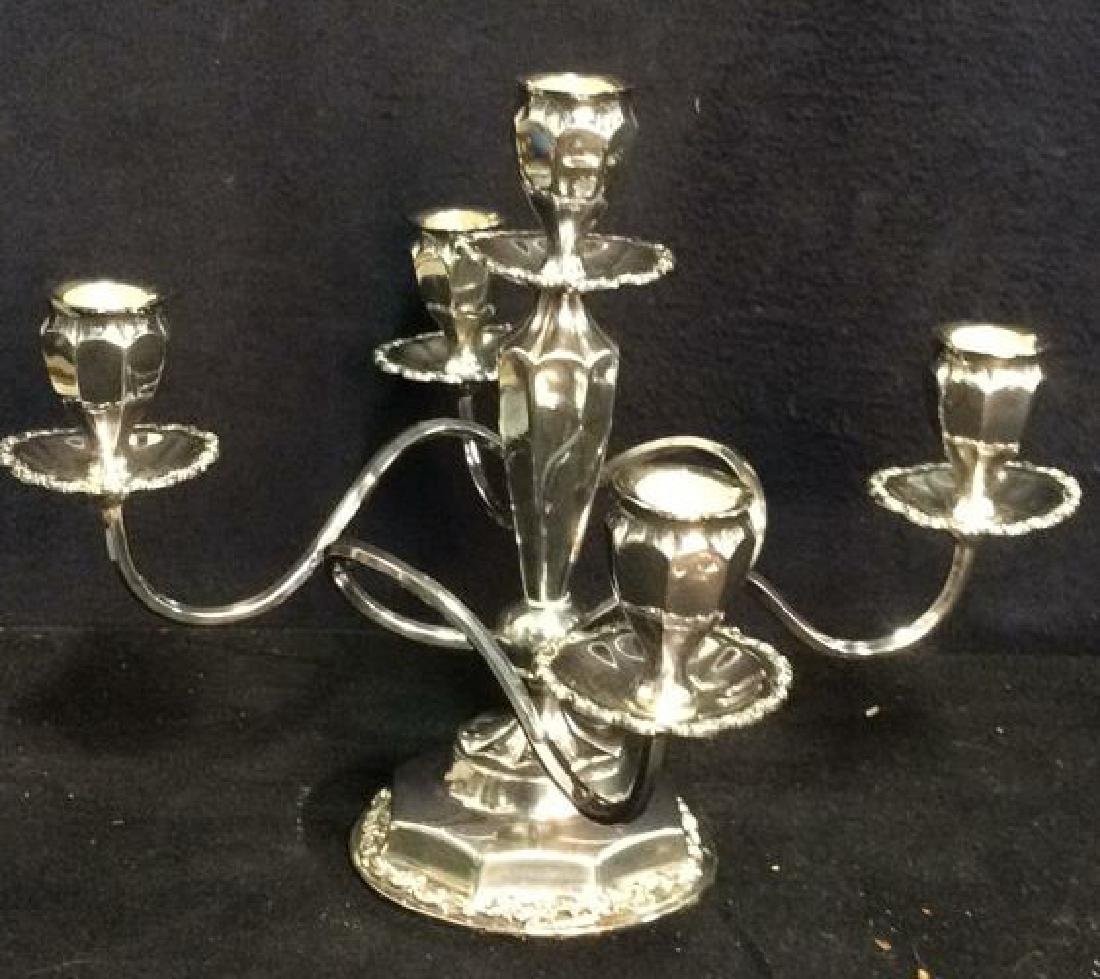 Silver Toned 4 or 5 Arm Candelabra - 6