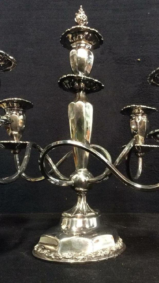 Silver Toned 4 or 5 Arm Candelabra - 9